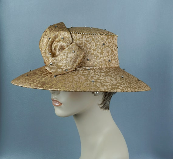 Wide Brim Hat, Gold Brocade Statement Hat, Rhinest