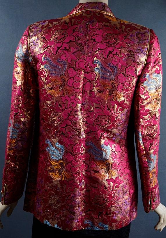 1980s Blazer, Hot Pink and Gold Brocade Jacket, C… - image 4