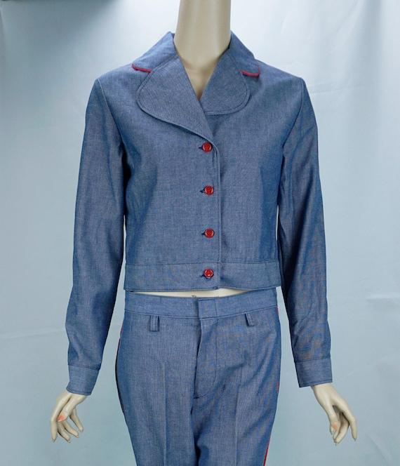 Vtg Pantsuit, MOD Pant Suit, Denim Suit, Bell Bott