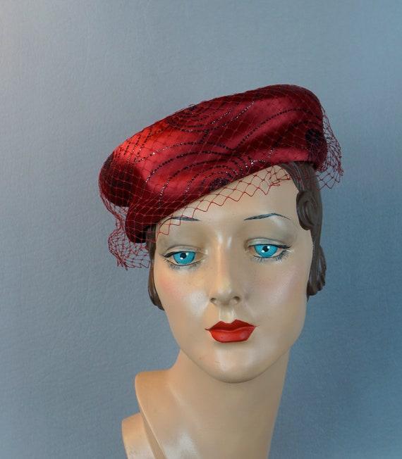 Vintage Hat, Ruby Red Pillbox, Beaded Satin Pillbo
