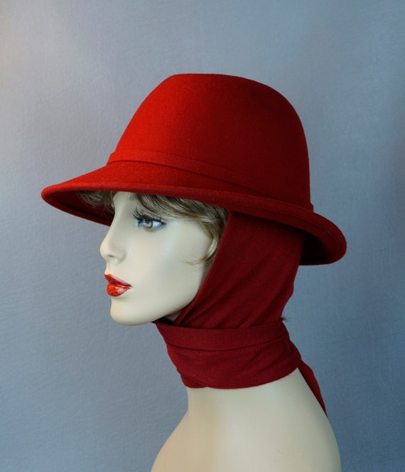 Vintage Hat, Bright Red Fedora, Red Scarf Hat, Bet