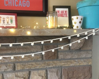 Ivory popcorn crochet knit yarn cluster bobble garland simple whimsical
