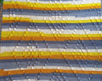 Ready to ship - Hand crocheted stripe mustard gray bobble popcorn stitch throw blanket