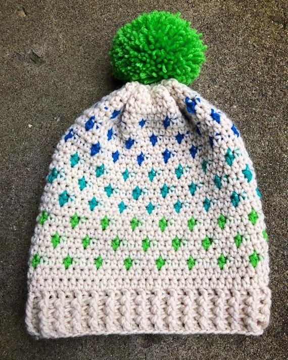 7ac5c9c30a0 Slouchy hat winter hat polka dot fair isle bright colors teal