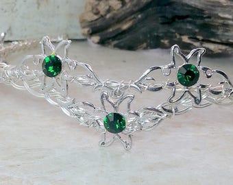 Flower of Rohan Crystal Crown Tiara Celtic Weave Circlet Elven Headdress Emerald Green or Custom Colors