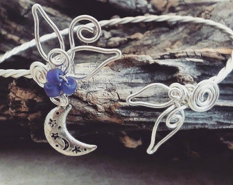 Moon and Stars Celestial Cuff Bracelet Sculpted Wire, Gift for Her