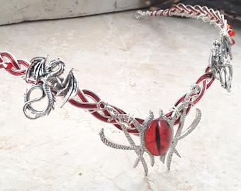 Red Dragons Eye Celtic Weave Circlet Crown Elven Wedding Headpiece Silver or Black Cosplay Headdress for Men or Women