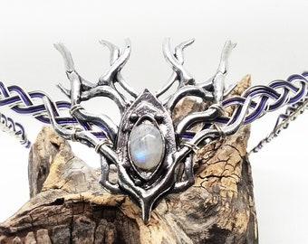 Celtic Moonstone Circlet Elven Wedding Circlet Woodland Hind Headpiece