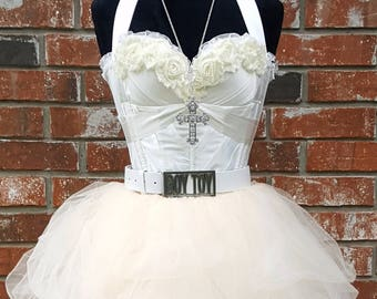4dd09106753 Quality Madonna Like a Virgin Costume Outfit in Ivory Cream~ Glam Rock  Madonna Bride Costume~ Boy Toy Belt~ White Bachelorette Party Dress