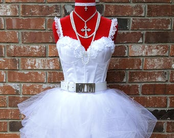 bef3608ec3f Madonna Costume w Boy Toy Belt n Accessories~ Madonna Bride Costume~ High  Quality Madonna Like Virgin 80s Outfit~ Size 0 2 4 6 8 10 12 14 16