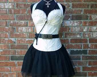 19a927bf323 Madonna 80 s Costume w Accessories Boy Toy Belt~ 80s Prom Dress~ Black  Adult Tutu Ivory Corset 80s Theme Party~ Small Medium Large Plus Size