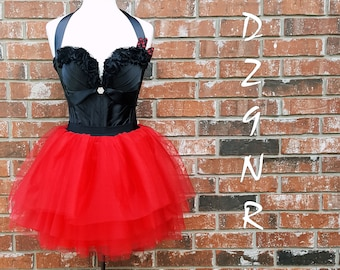 2c4bb30f3ab Sexy Black Red Womens 80 s Prom Dress Outfit~ Large Bow Punk Gothic Costume~  Corset Tutu Polka Dot~ XS Small Medium Large XL 2X 3X Plus Size