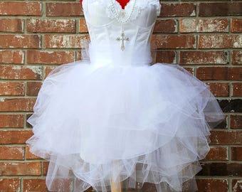 0ec93c3be8 White Bachelorette Party Dress~ Bachelorette Party Outfit~ Madonna Like a  Virgin~ Womens Corset Tulle Tutu 2 4 6 8 10 12 14 16 18 Plus Size