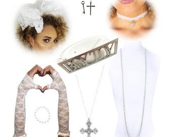 Madonna 80saccessory set  lace finger less gloves cross pendant  fancy dress