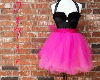 0304db80487 80s Prom Dress~ High Quality 80 s Style Fancy Dress~ Eighties Womens  Rocker~ Hot Pink Tutu Black Corset~ 0 2 4 6 8 10 12 14 16 18~ Dz9nr