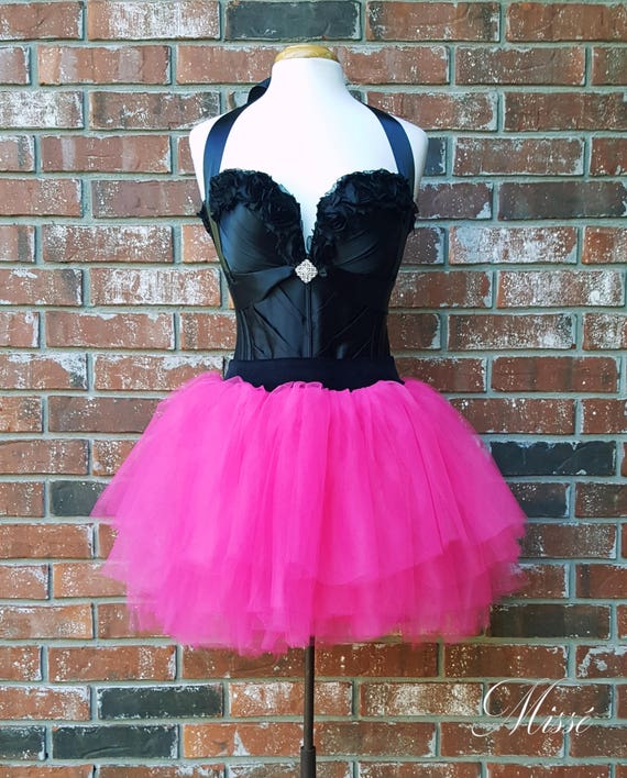 80s Prom Dress 80\'s Clothing Hot Pink High Waist Tulle