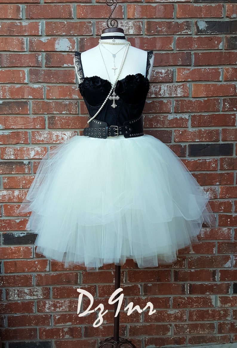 80s Theme Party Dress- 80s Prom Dress- XS Small- Plus Size 1X 2X 3X- Knee  Length- Corset Leather Belt- Black Corset Ivory Tulle Skirt Outfit