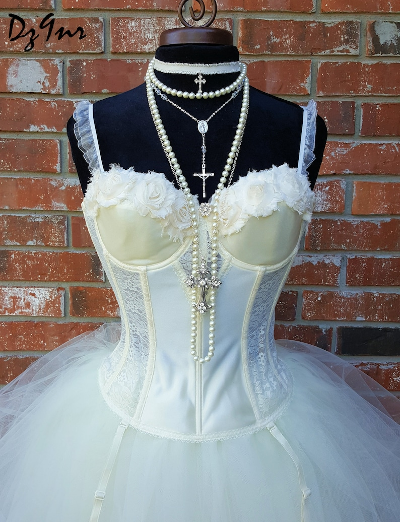 04fb2342a7f Madonna Like a Virgin Costume Knee Length Tulle Skirt 80s