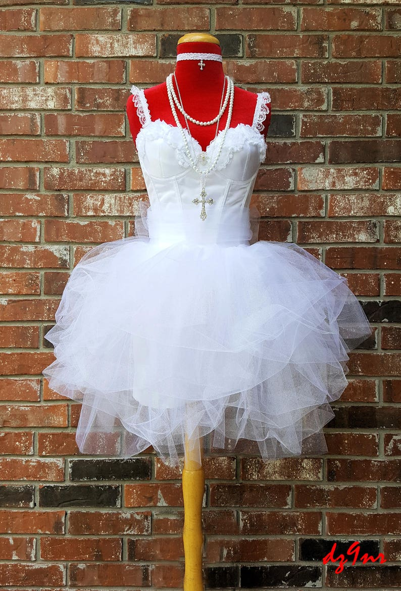 8ef9aefc71f69 White Bachelorette Party Dress~ Bachelorette Party Outfit~ Madonna Like a  Virgin~ Womens Corset Tulle Tutu 2 4 6 8 10 12 14 16 18 Plus Size