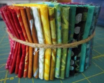 "LAST ONE Batik Jelly Roll 36 DIFFERENT Batiks Cotton Fabrics 36 Width of Fabric Strips each 2 1/2"" wide"