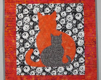 Halloween SIDEKICK Cat Applique Wall Hanging Quilt from Quilts by Elena Table Topper