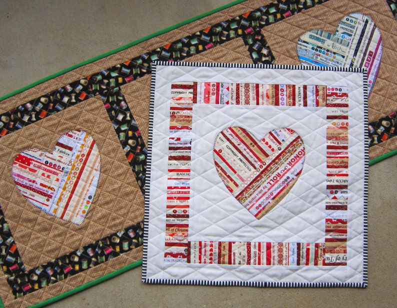 You re mine selvage heart applique quilt pattern from etsy