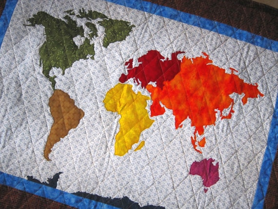 OUR WORLD Patchwork Map Quilt Pattern Full Sized Templates and   Etsy