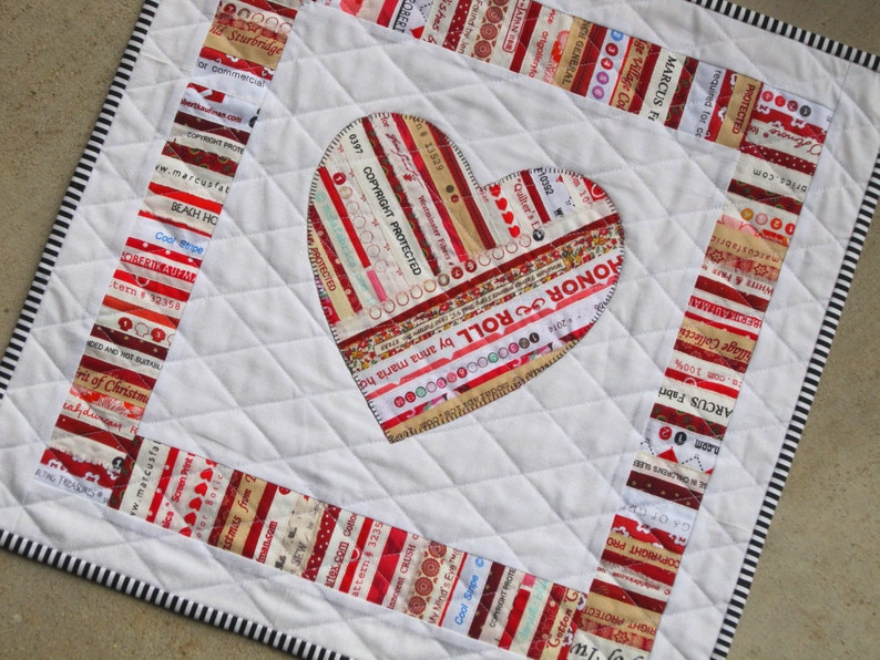 Youre mine selvage heart applique quilt from quilts by etsy