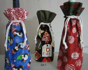 Pick your Set of 3 Christmas Wine Fabric Drawstring Gift Bags from Quilts by Elena also holds standard size fifths of liquor FREE SHIPPING