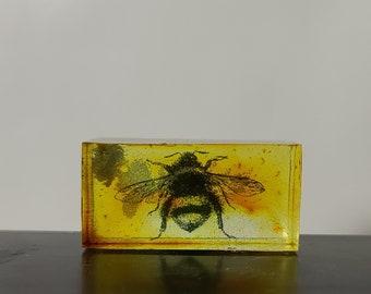 "Silhouette Art Blocks OOAK - 1.5"" x .75"" - Honey Bee with Alcohol Inks"
