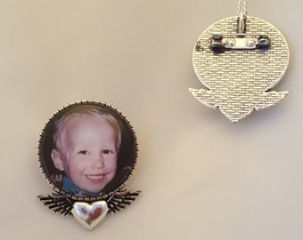 Custom Memorial - Heart & Angel Wings Photo Charm - Pin - Beloved Pet - Necklace Charm in Silver Frame
