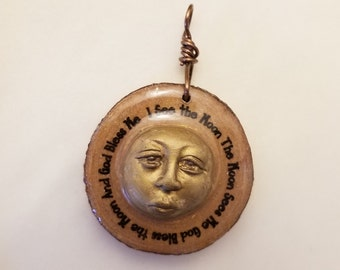 God Bless The Moon, I See The Moon, The Moon Sees Me - Wood Slice Resin Moon Face Pendant Necklace