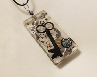 OOAK- Exploding Time Clock Art Steampunk Gears in Resin Necklace Pendant Charm - Watch Parts
