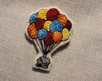 Handmade French Knotted Balloons House from UP Brooch Pin Embroidery