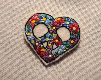 Handmade French Knotted Flower Peace Heart Brooch Pin Embroidery