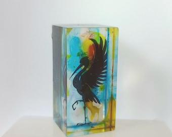 "Silhouette Art Blocks OOAK - 1.5"" x .75"" Resin - Bird Heron with Alcohol Inks"