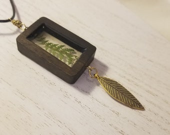 """Tiny Real Fern in Resin Wood Frame Nature Necklace  Pendant w/30"""" Chain"""