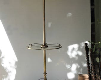 Vintage Brass Floor Lamp with Glass Table Hollywood Regency Traditional Colonial