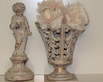 Vintage Ornate Gold and Ivory Urn Pedestal Flower Vase Planter Distressed Cream Shabby Cottage Chic French Country Nordic Decor