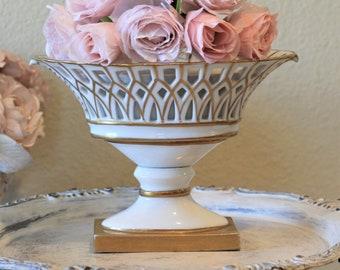 Vintage Gorham Porcelain Reticulated Gilt Gold Compote Oval Pierced Pedestal Old Paris French Style Vase