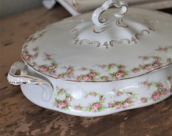 Vintage Soup Tureen Covered Oval Vegtable Serving Casserole Handled Dish Pope Gosser Floral Rose Gold Trim Shabby Chic French Country