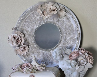 Wall Mirror Jeweled Rhinestone Embellished Glam  Decor Silver Plate Tray Distressed Ornate French  Roses