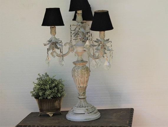 Vintage Crystal Candelabra Table Lamp Shabby Distressed | Etsy