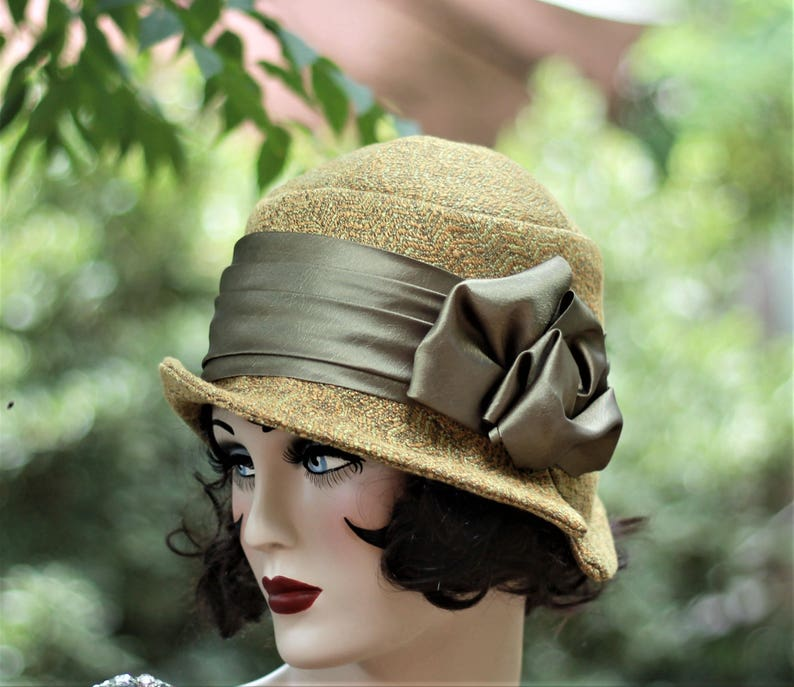 Womens Cloche Hat Vintage Style 1920s Flapper 20s Boho Tweed Fabric Olive Mustard Downton Abbey