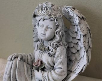 Girl Cherub Angel Rhinestone Crown Distressed Statuary Statue Shabby Cottage Chic French Country Farmhouse Decor