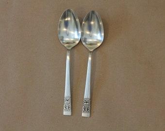 Vintage Silverplate Coronation Flatware  Silver Plate Silverware 1 Pair (2) Serving Spoons by Community