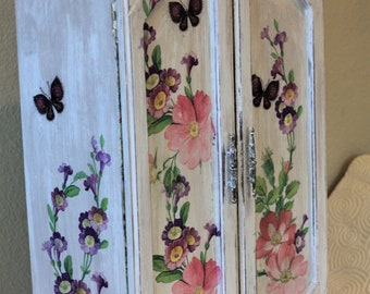 Jewelry Box Chest Armoire Cabinet Decoupage Vintage Handmade Rustic Roses