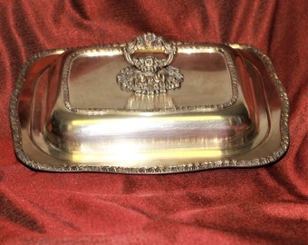 Silverplate Rectangle Serving Covered Dish  Ornate Floral Motif Buffet Table Hollywood Regency French