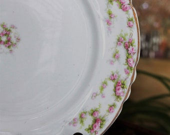 Vintage Ceramic Set of 6 Saucers Pope Gosser Floral Cabbage Rose Gold Trim Shabby Chic French Country