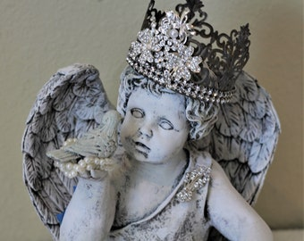Angel Cherub in Rhinestone Crown with  Bird Distressed Statuary Statue Shabby Cottage Chic French Country Farmhouse Decor Christamas Gift
